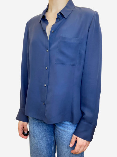 Navy silk button through blouse - size L