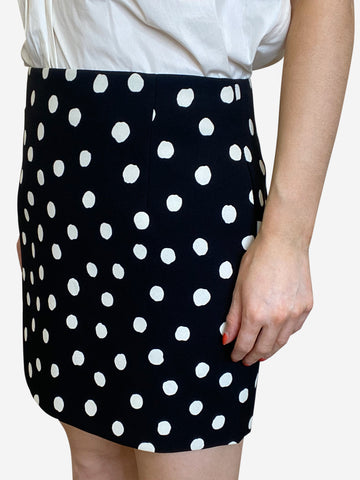 Black polka dot mini skirt - size FR 38