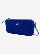 Load image into Gallery viewer, Blue quilt effect crossbody bag with detetcheable chain