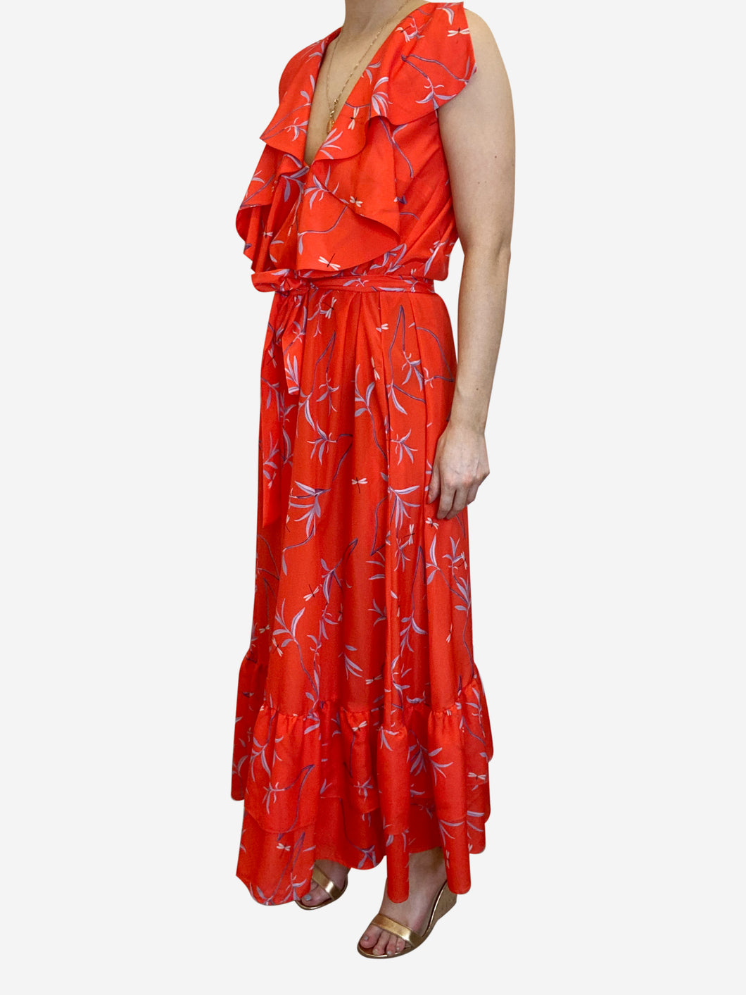 Red floral frill maxi dress - size UK 8