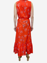 Load image into Gallery viewer, Red floral frill maxi dress - size UK 8