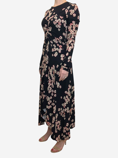 Aubergine and pink floral maxi dress - size FR 40