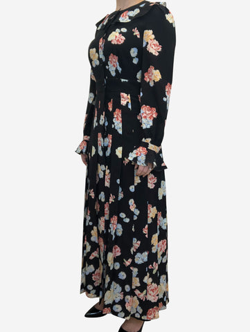 Black and blue floral print maxi dress - size UK 10