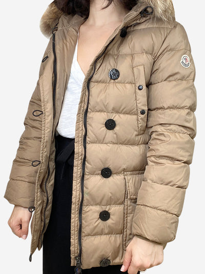 Beige longline puffer coat with fur trimmed hood- size UK 10