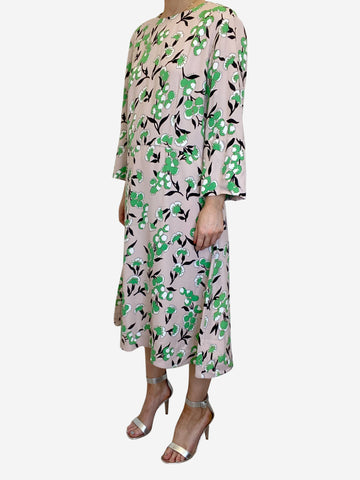 Pink & green floral print midi dress - size IT 46