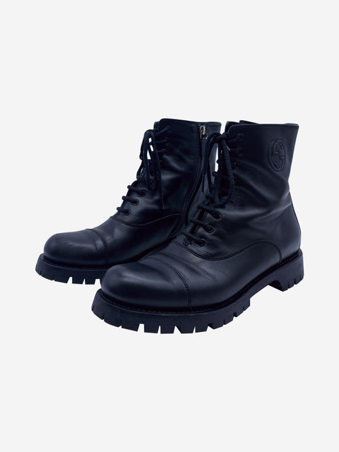 Black combat style boots with logo - size 6