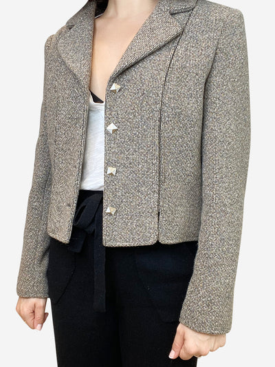 Taupe tweed blazer jacket- size UK 14