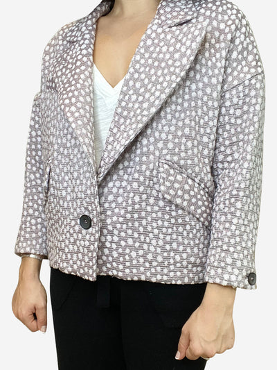 Pink cropped blazer jacket with lurex highlights- size UK 10