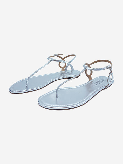 Almost Bare silver leather flat sandals - size 3.5