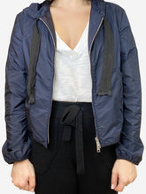 Load image into Gallery viewer, Navy short windbreaker with hood and ribbon style ties- size UK 8