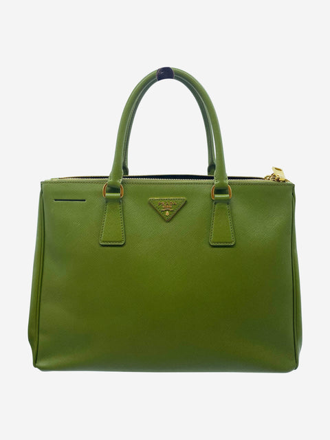 Green Galleria Saffiano large double zip leather tote
