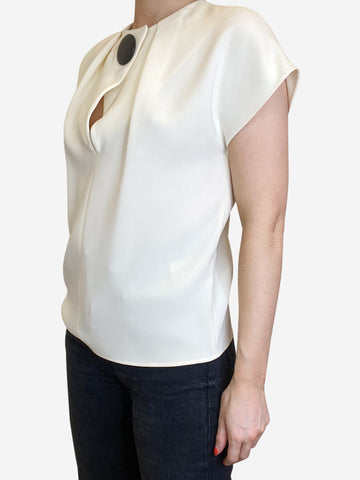 Cream single large button blouse - size FR 36