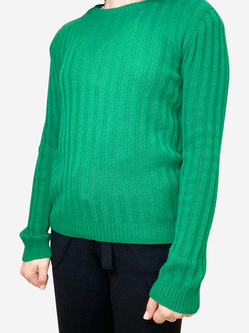 Green fine knit jumper- size S