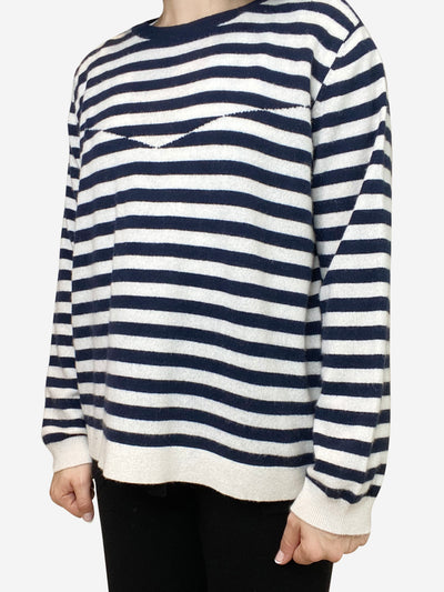 Blue and white striped jumper with triangle pattern- size L