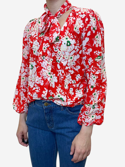 Red and green floral print blouse with neck tie - size XS