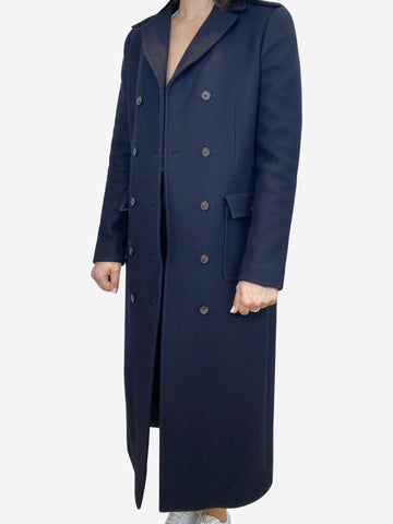 Navy double breasted long coat- size UK 12