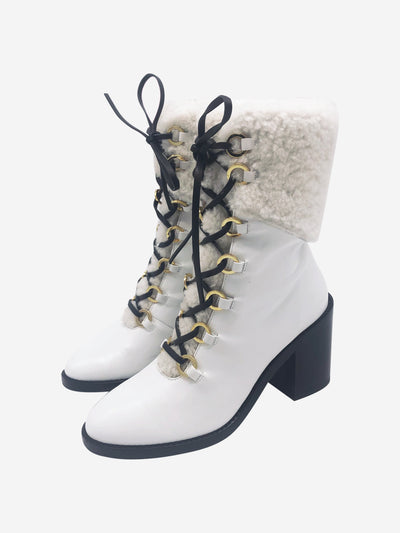 White block heel fur lined boots - size EU 38