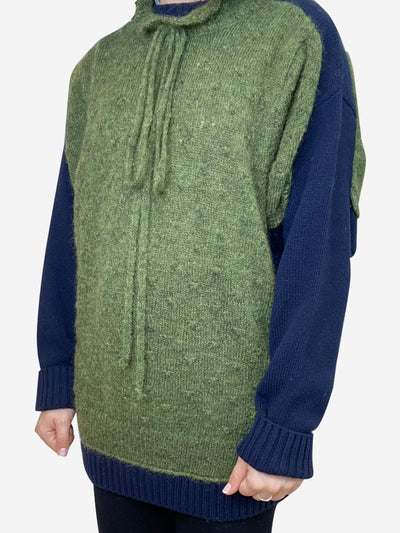 Green and navy knit jumper with neck tie and frill accent- size S