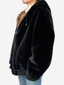 Black and leopard print reversible hooded fur coat - size M