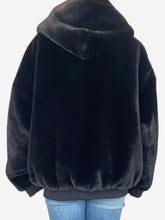 Load image into Gallery viewer, Black and leopard print reversible hooded fur coat - size M