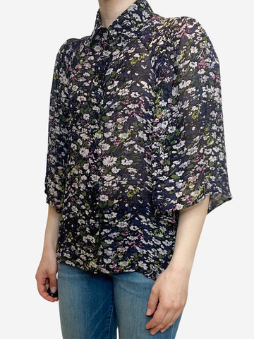 Black and navy floral print blouse - size UK 6