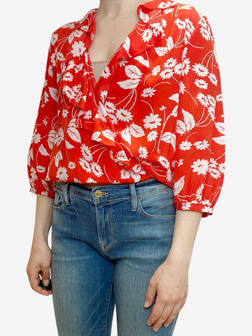Red and white floral wrap blouse - size M