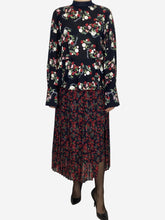 Load image into Gallery viewer, Black floral long sleeve dress with pleated layered skirt- size M