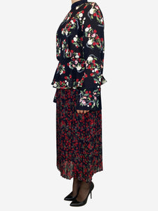 Black floral long sleeve dress with pleated layered skirt- size M