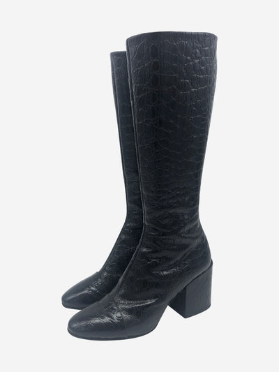 Black croc effect knee high boots - size EU 39
