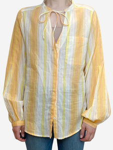 Teoh & Lea Yellow and orange striped tie neck blouse - size M