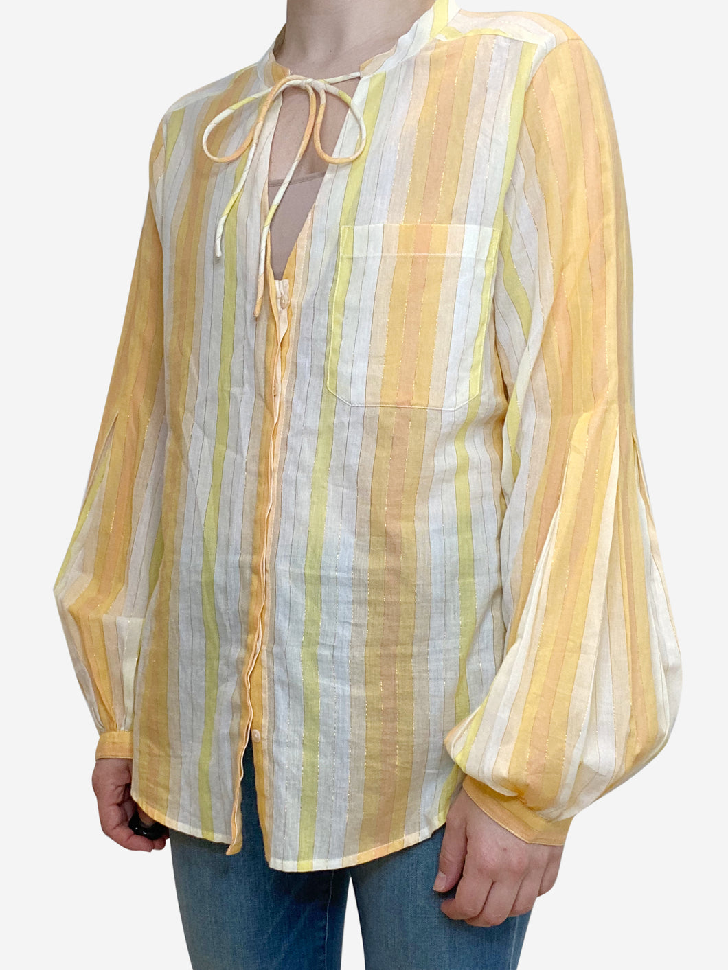 Yellow and orange striped tie neck blouse - size M