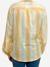 Load image into Gallery viewer, Yellow and orange striped tie neck blouse - size M