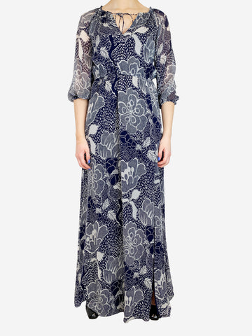 DVF Navy And White Paisley Maxi Dress Size S RRP £280