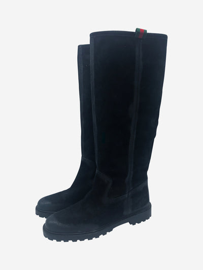 Black suede knee high flat boots - size EU 37.5