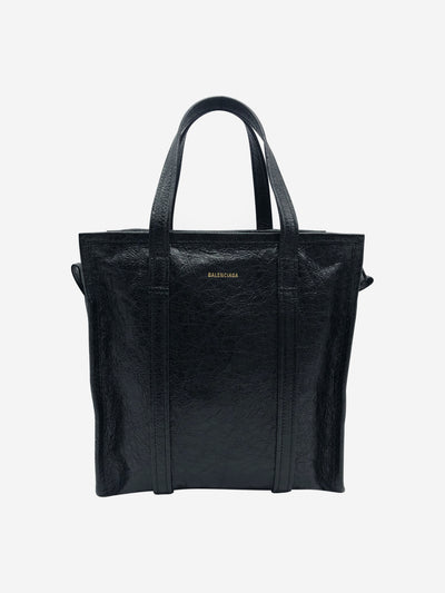 Bazar small textured-leather tote bag