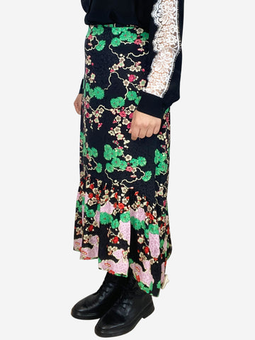 Leandra black and green cherry blossom floral midi skirt - size M