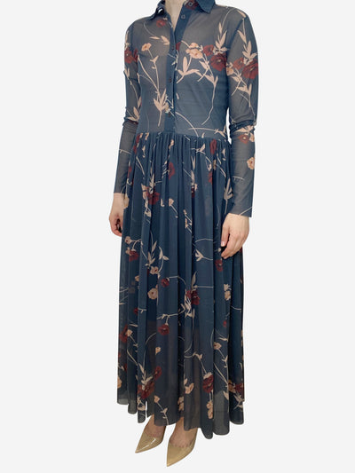 Grey and burgundy floral print midi dress - size UK 10