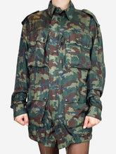 Load image into Gallery viewer, Khaki green oversize camouflage military jacket - size S