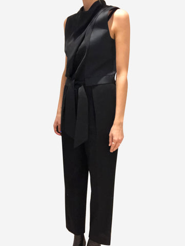 Black high neck jumpsuit with tie waist - size UK 6
