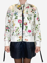 Load image into Gallery viewer, Cream and multi cream and multi floral bomber  jacket - size 10