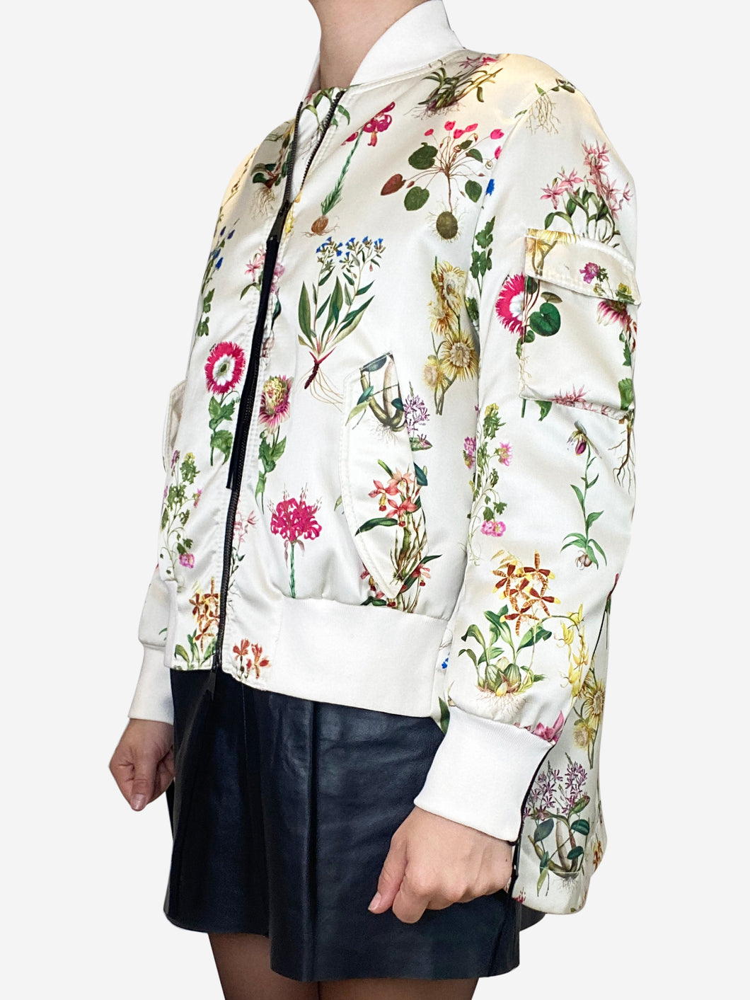Cream and multi cream and multi floral bomber  jacket - size 10