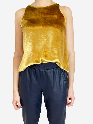 Forte Forte Gold Velvet Sleeveless Top Size 4