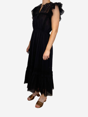 Black sleeveless broderie anglaise and crotchet midi dress - size 8