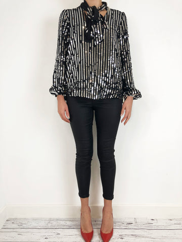 Rixo Moss Black with Silver Sequin Blouse UK M