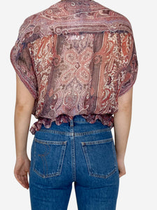 Pink paisley print top with elasticated waist - size M