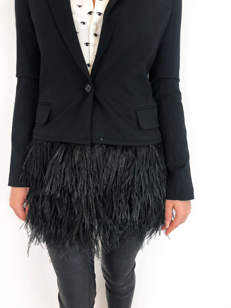 Elisabeth & James Black Blazer with Feathers Size 8 RRP £345