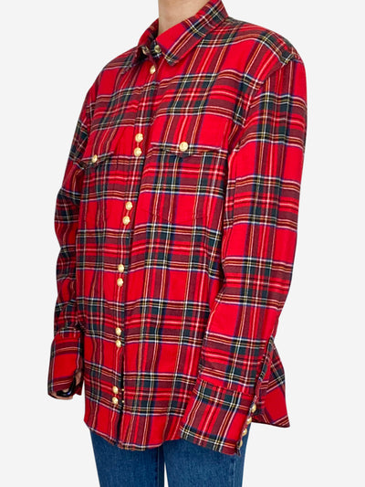 Red checked shirt with gold hardware - size FR 38