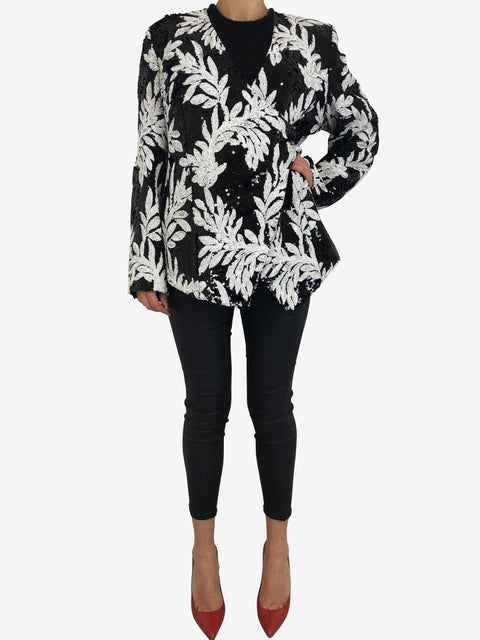 Safiyaa Black And White Sequin Jacket Size L Safiyaa - Timpanys