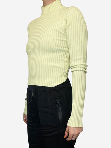 Yellow twist back ribbed polo neck top - size UK 8