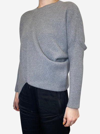 Grey ribbed asymmetric crew neck sweater - size FR 34
